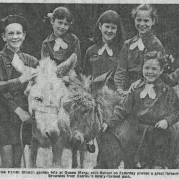 Donkey rides at Church fete incl Brownies from Escrick Park . C 1968