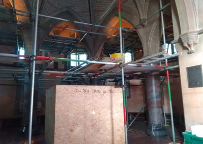 The precious monuments have all been protected, some of the internal scaffolding is in place and the Asbestos removal has started