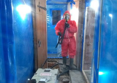 After a number of weeks hard work the asbestos removal was completed on Friday 9thNovember. In some places it involved lifting the stone flag floor.
