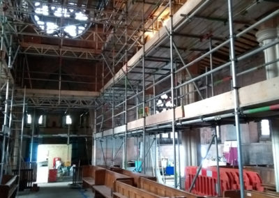 The internal scaffolding is in place and ready for the electricians and stonemasons to start work.