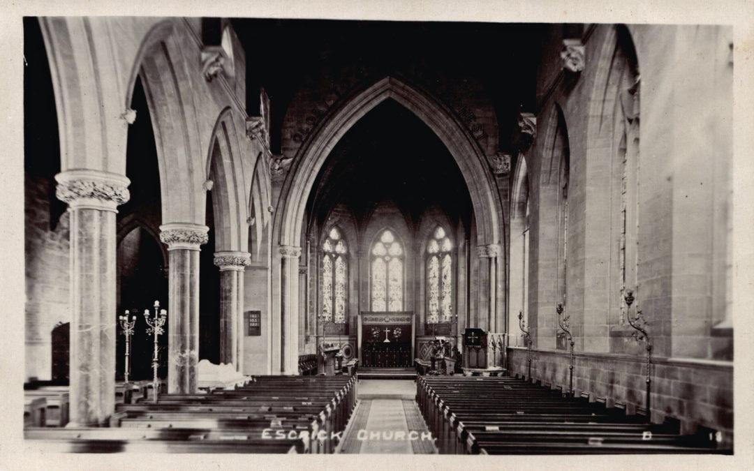 Postcard of Escrick Church – pre fire of 1923