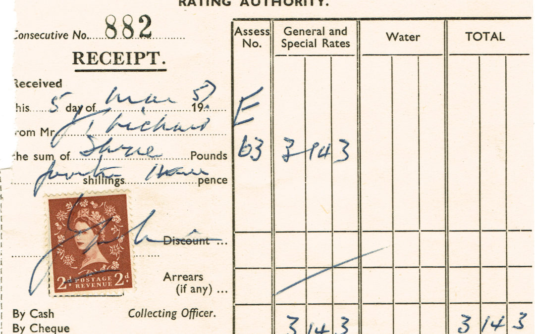Derwent District Council Rates Receipt – 5th March 1957