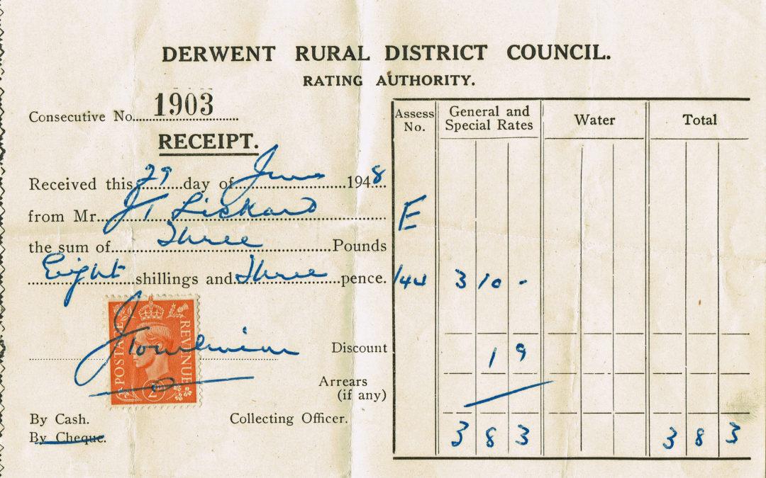 Derwent District Council Rates receipt – 29th June 1948