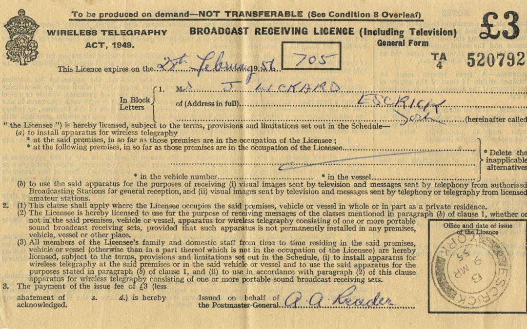 £3 Broadcast Receiving Licence – Escrick Post Office 28 Feb 1956