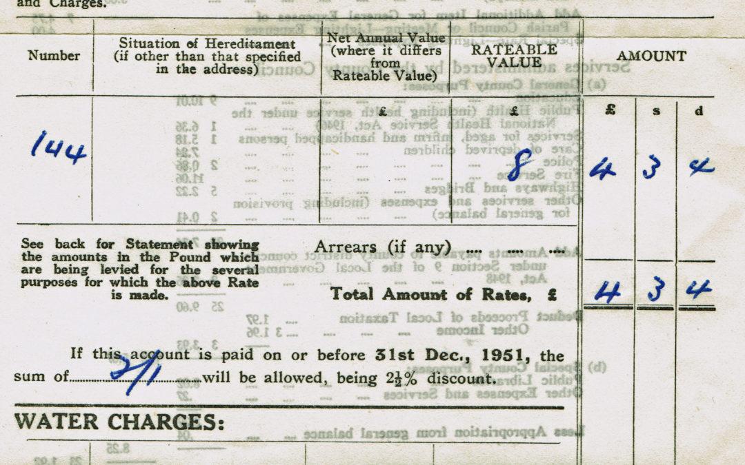 Derwent District Council Demand Note for Rates -December 1951