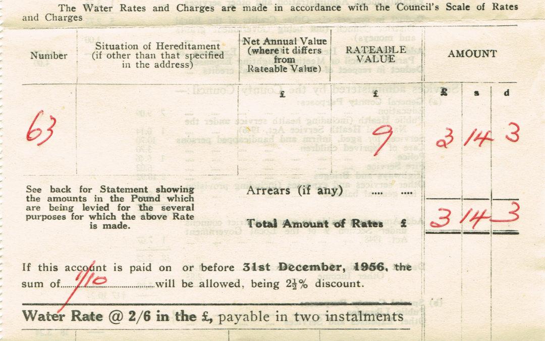 Derwent District Council Demand Note for Rates -December 1956