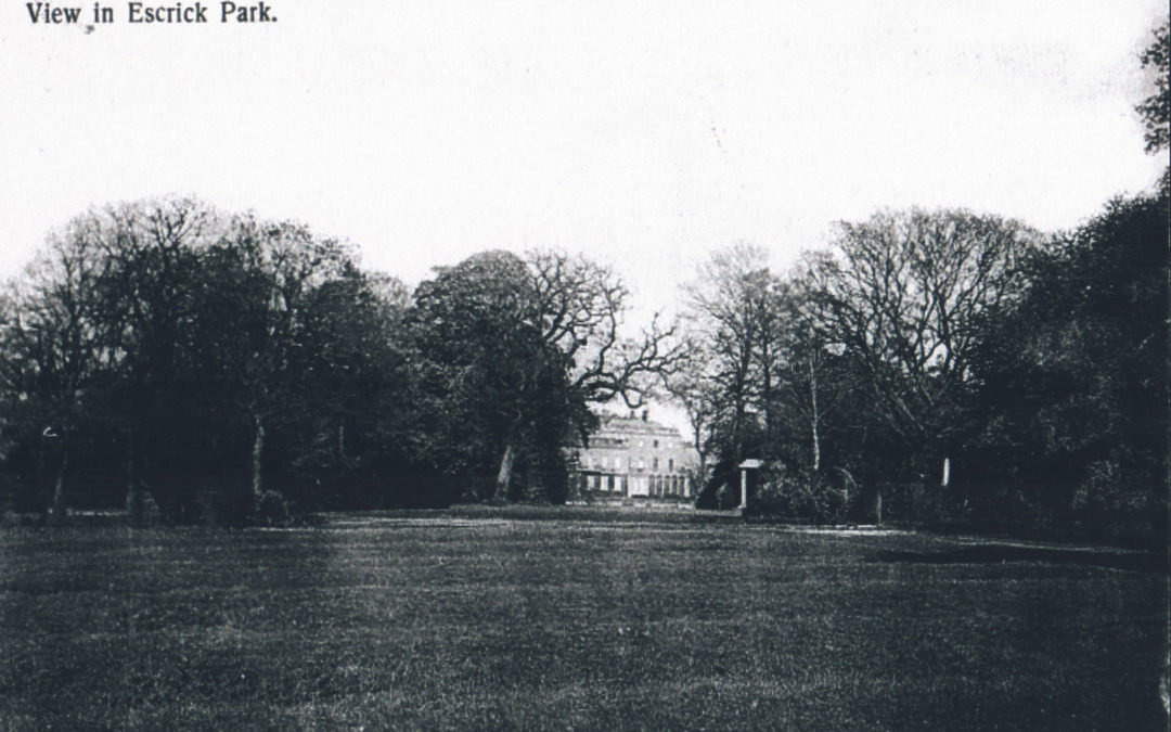 Postcard of Escrick Hall – From a view in the park