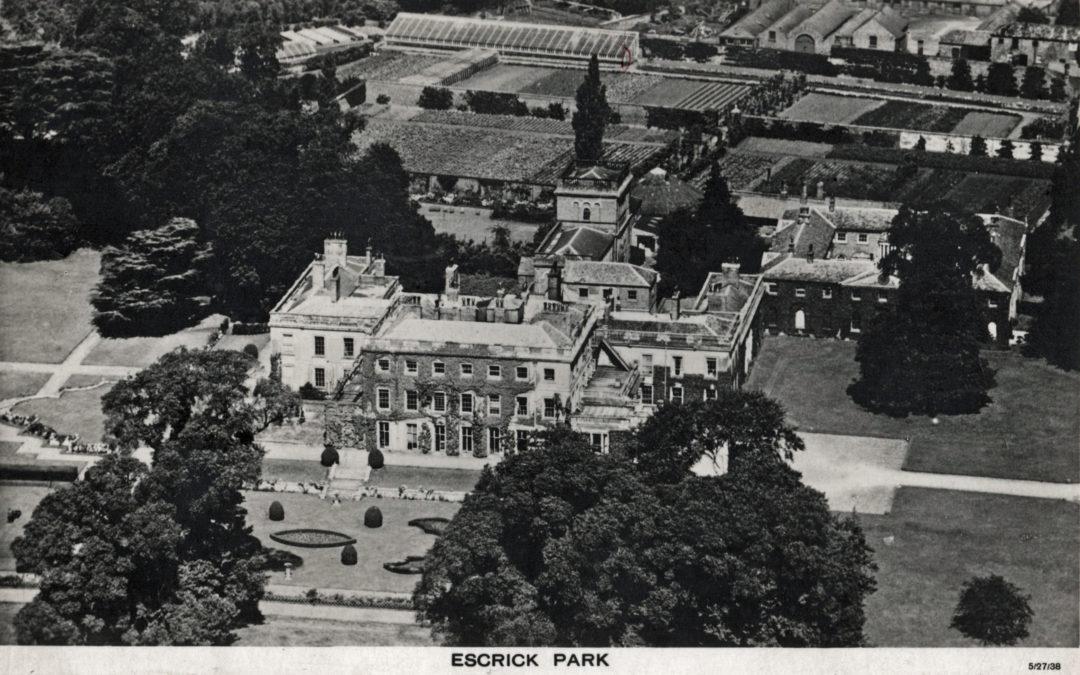 Postcard of Escrick Park – Aerial view of Hall and Gardens