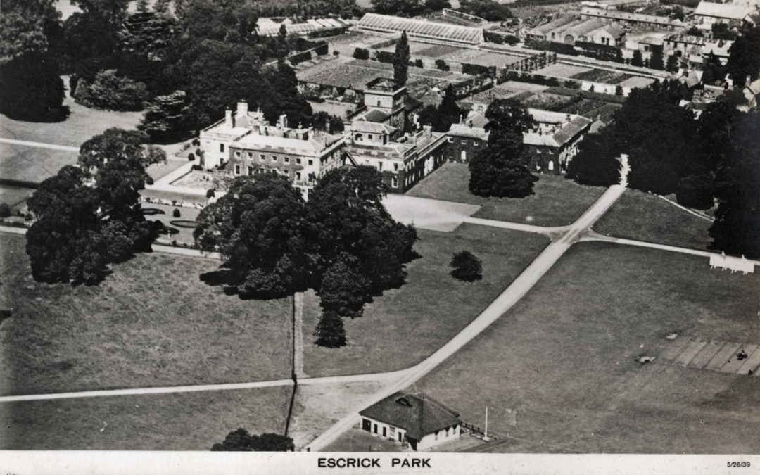 Postcard of Escrick Park – Aerial view of Hall and outlying buildings – Dated 26 May 1939