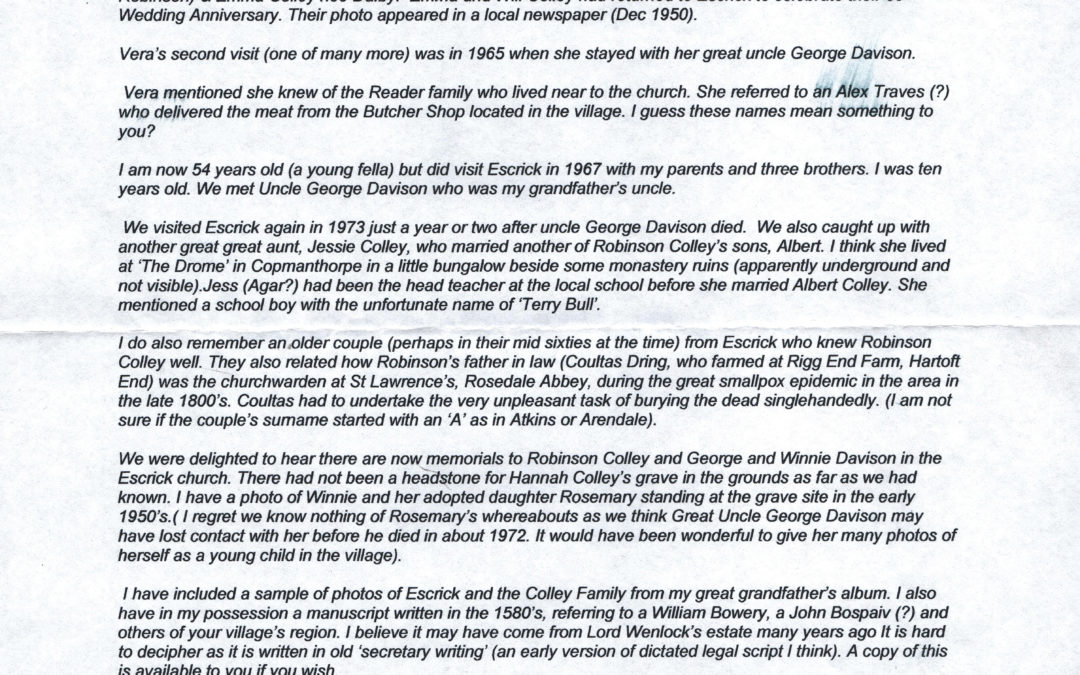 Letter from Brad Colley,  Australia, 8th August 2011 – The Colley Family Ancestry & acquaintances