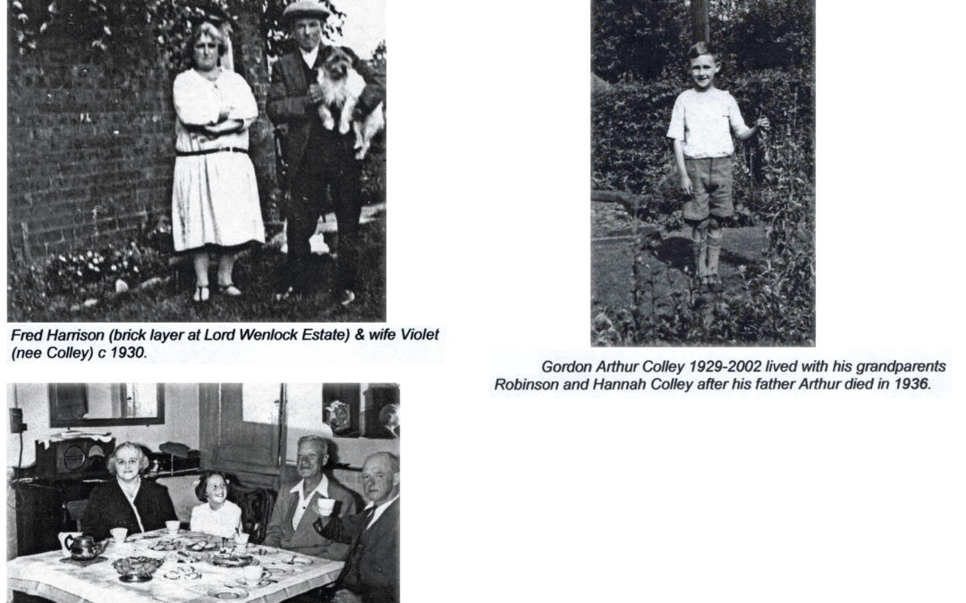 The Colley Family at Escrick 1930 to 1950 – Fred Harrison and Violet , Gordon, Winnie & Rosemary inside the Cottage