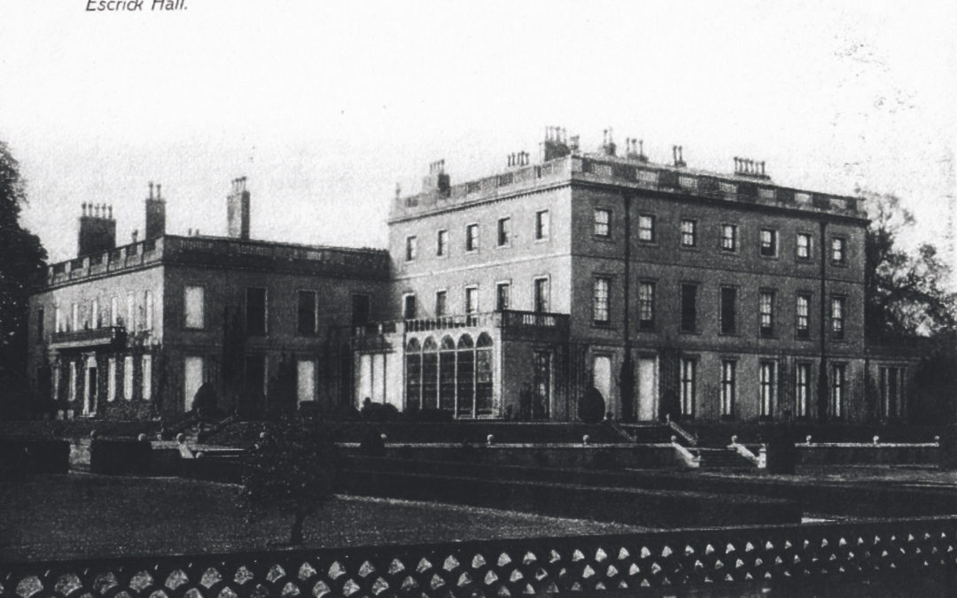 Postcard of Escrick Hall – Rear of building and the Formal Garden