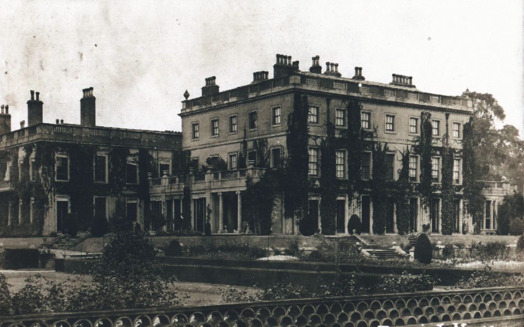 Postcard of Escrick Hall – Prior to single story terrace converted to the Library
