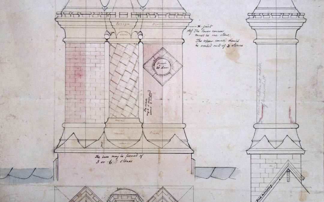 Detailed drawing of Escrick Rectory chimney stack – By FC Penrose –  8 Nov 1848
