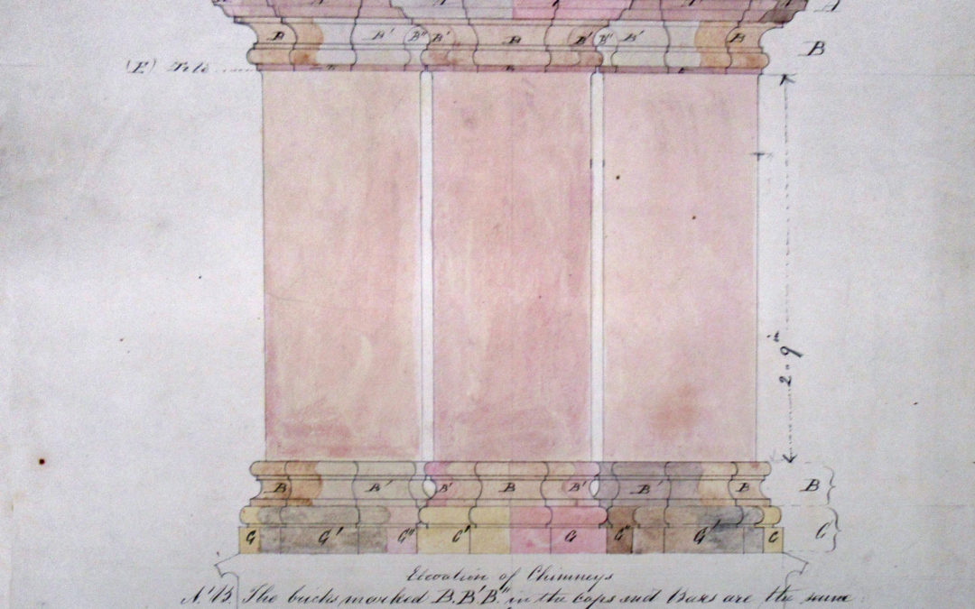 Initial drawing of chimney stack – Drawing No.1 by FC Penrose