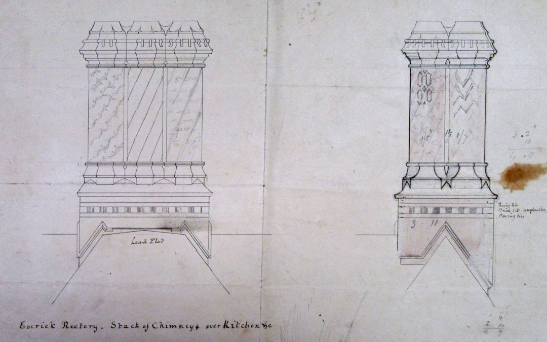 Drawing of chimney stack over Rectory Kitchen – By FC Penrose
