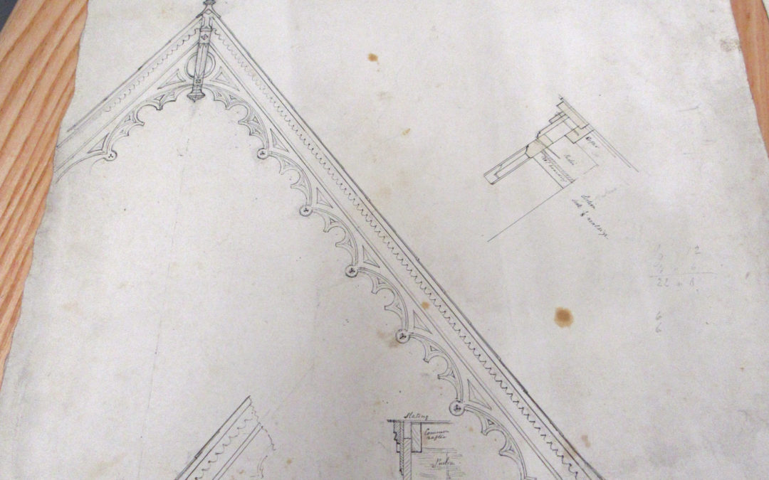 1/16 scale Drawing of Escrick Rectory Gable end – By FC Penrose