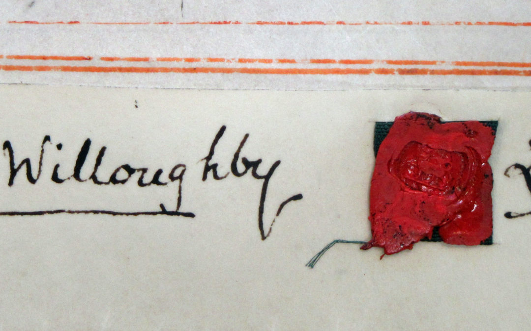 Stephen Lawley signature & wax seal on document dated 1857