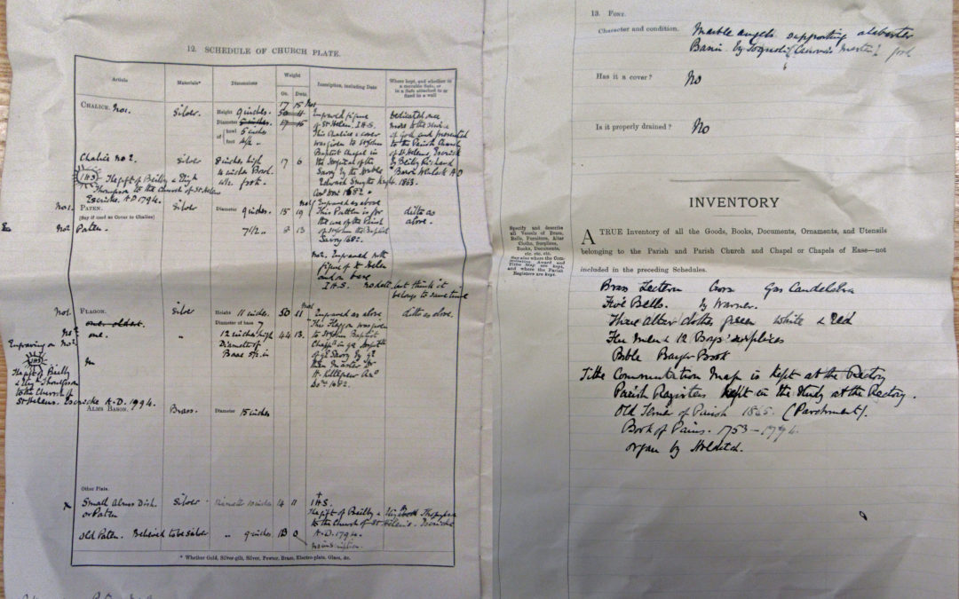 Escrick Church Terrier & Inventory – 30 May 1900 Pages 12 & 13