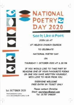National Poetry Day.  Thursday 1st October.  6.30pm.