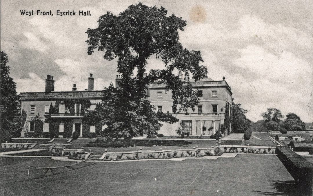 Postcard of Escrick Hall – West Front & Tennis Courts