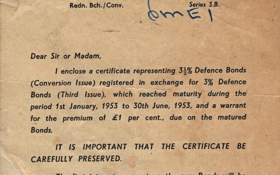 Defence Bond Certificate Letter June 1953