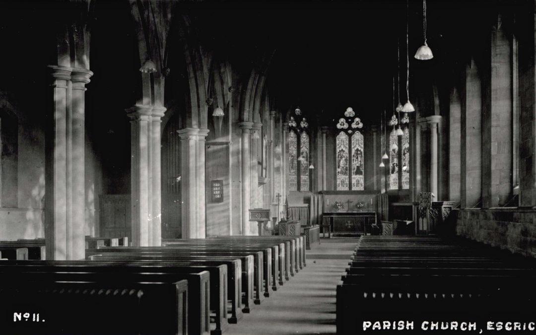 Postcard of Escrick Church – interior – no. 11 in series