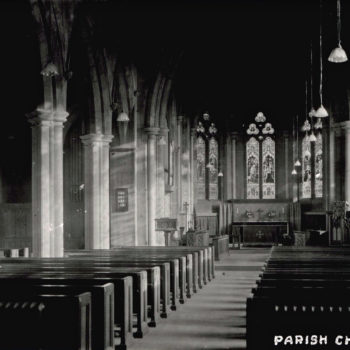 Postcard of Escrick Church - interior - no. 11 in series