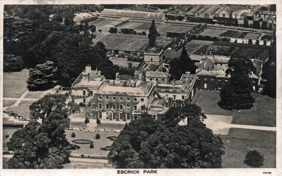 Postcard of an aerial view of escrick Park