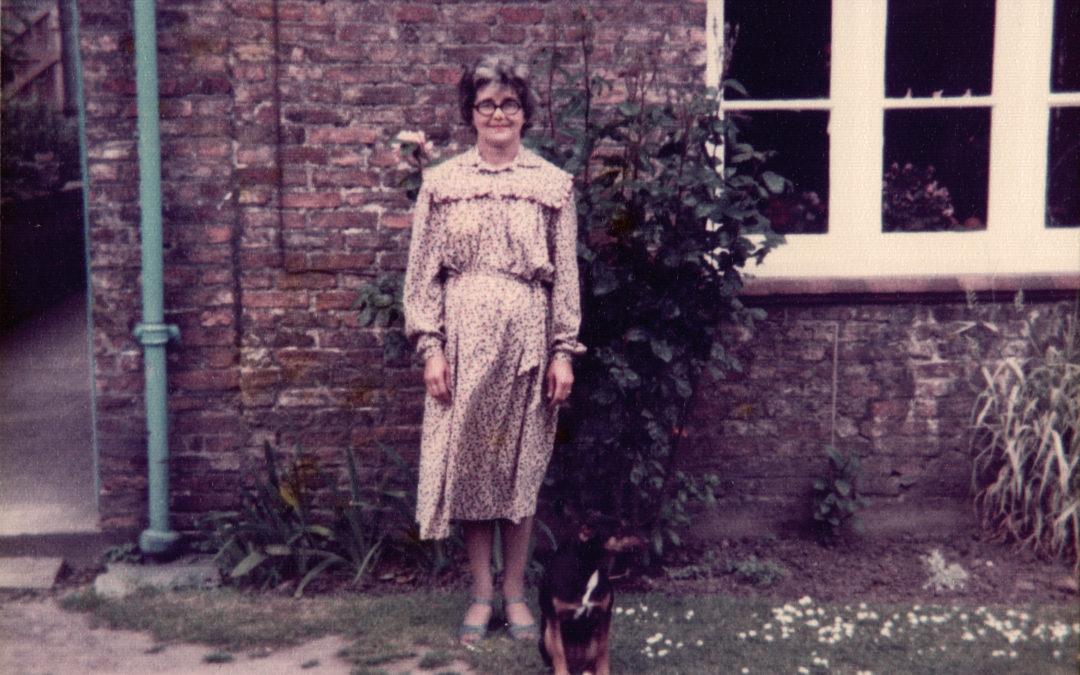 Violet Sarginson with Sally the dog – Outside Escrick Park Gardens c 1980