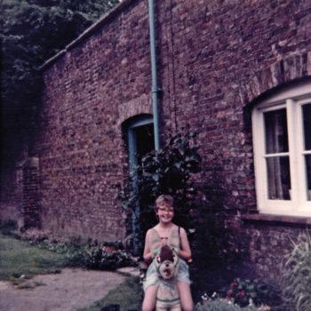 Joan Sarginson outside Escrk Park gardens c 1960's