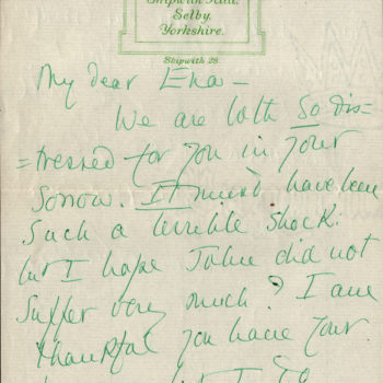 Letter to Ena Thompson from Irene Forbes Adam