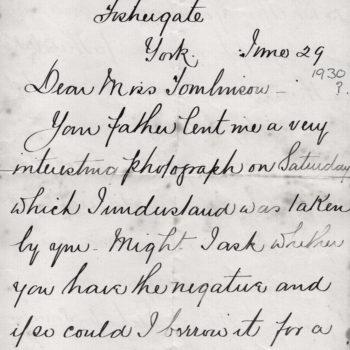 Letter regarding Lance Foster's Photo Album of 'Respected Friends'