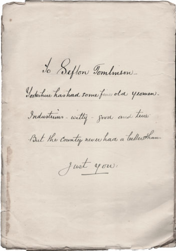 Folder to Sefton Tomlinson (outer cover) dated 1932