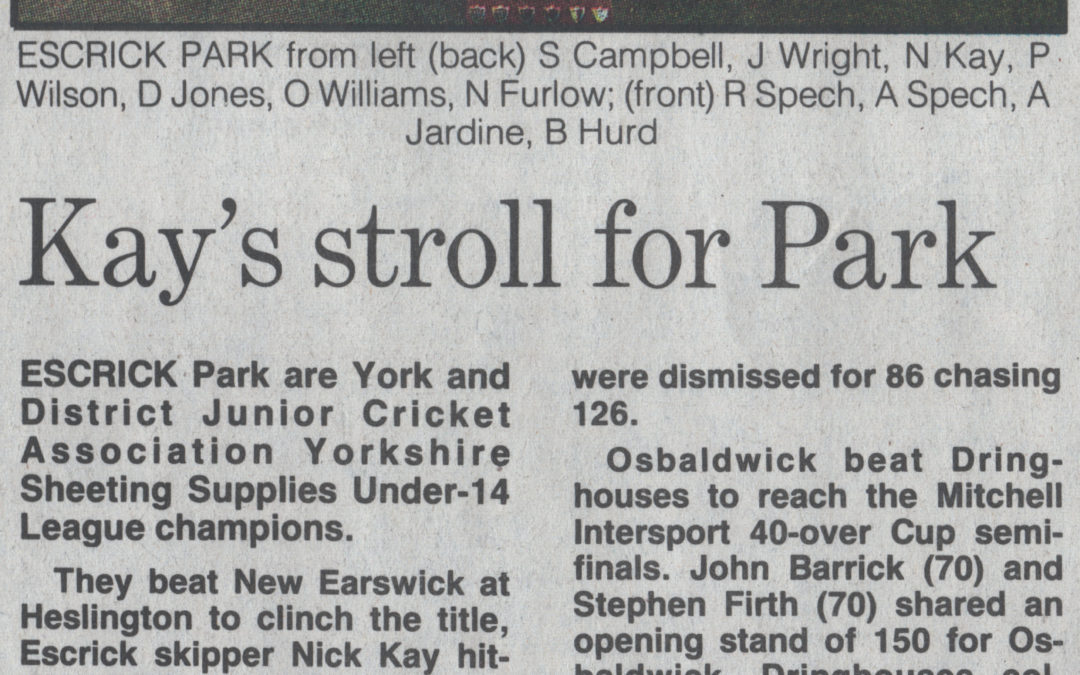 Escrick Park York & District Junior Cricket Champions July 1984. Beating New Easrwick at Heslington