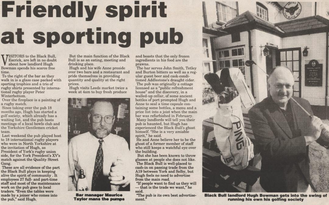 Escrick Pub the Black Bull and its sporting Landlord Hugh Bowman 19 April 1994
