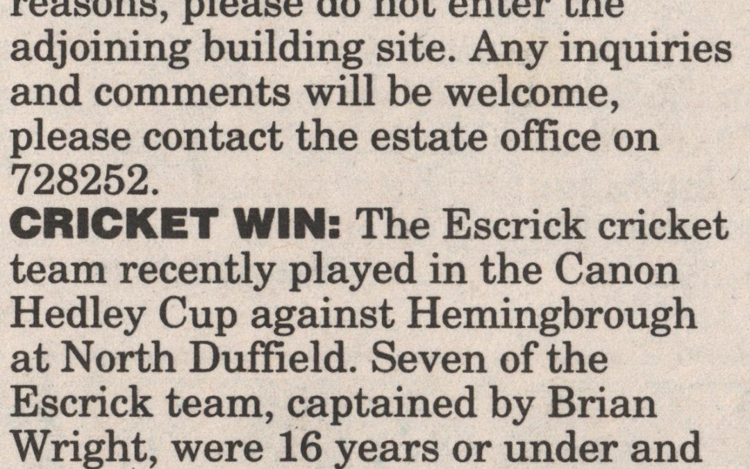 Escrick local news – Gassy Wood path open & Escrick win at Cricket