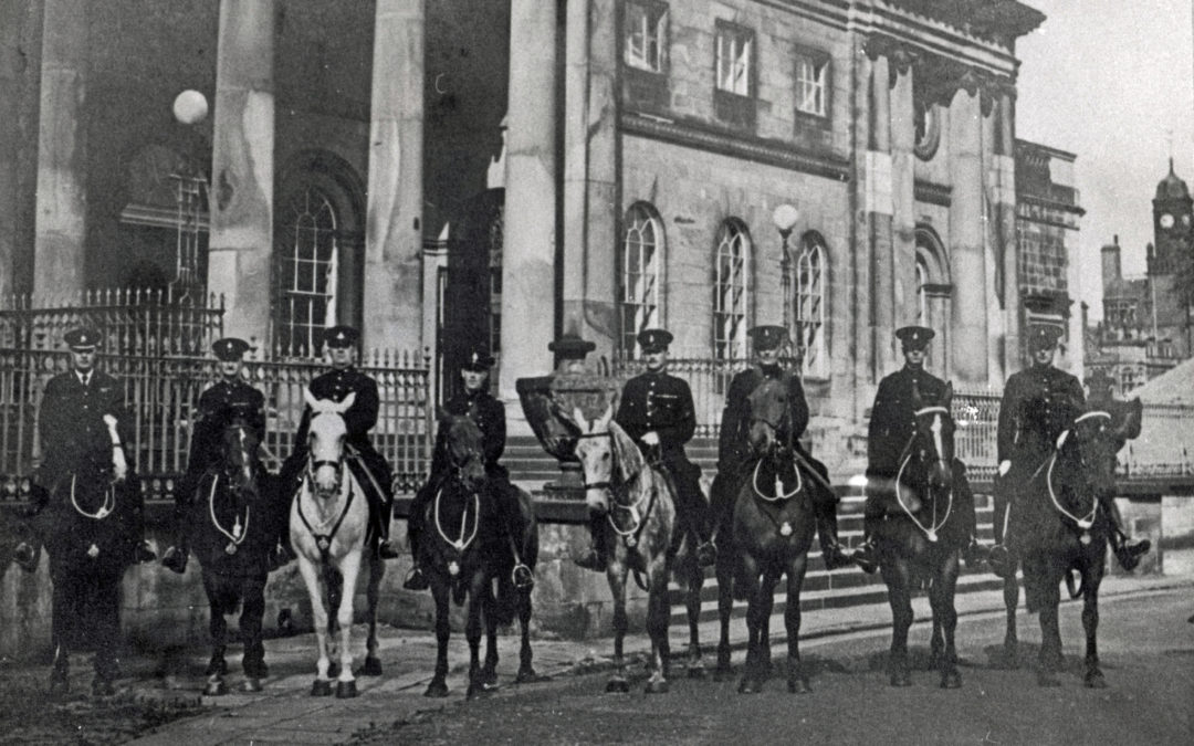 Mounted Police outside York Police Court 1950's