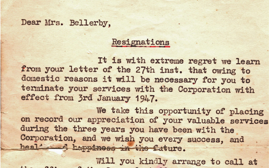 Marjorie Bellerby resigns from the NAAFI – 3 January 1947