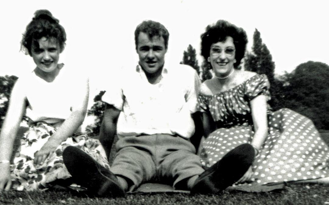 Jenifer & June Bellerby with Godfrey (John's friend) in Escrick Park – 1960