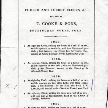 Page from T. Cooke & Sons Church Clock directory - Escrick clock installed 1858