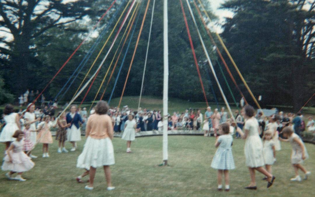 Maypole Dancing in Escrick- Garden Fete in Queen Margaret's grounds – 1960