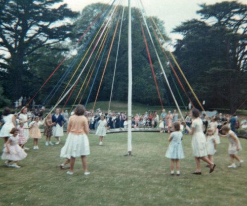 Maypole Dancing in Escrick- Garden Fete in Queen Margarets grounds - 1960
