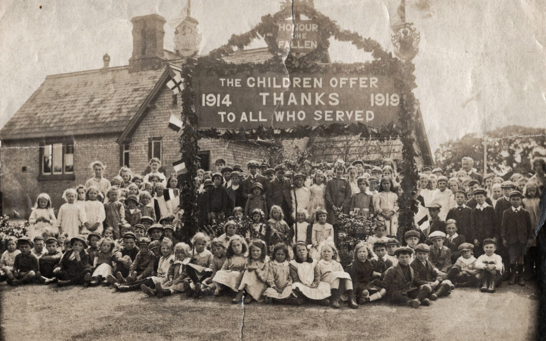 Remembrance Sunday gathering outside Escrick Primary School – 1919