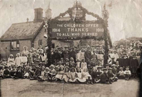 Remembrance Sunday gathering outside Escrick Primary School - 1919