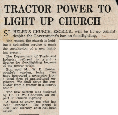 Escrick Church to be lit up with tractor powered generator