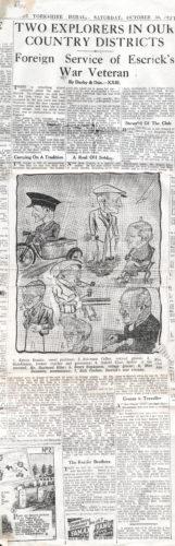 Portrayal of trades people from Escrick & war veteran Dick Coulson - October 1937