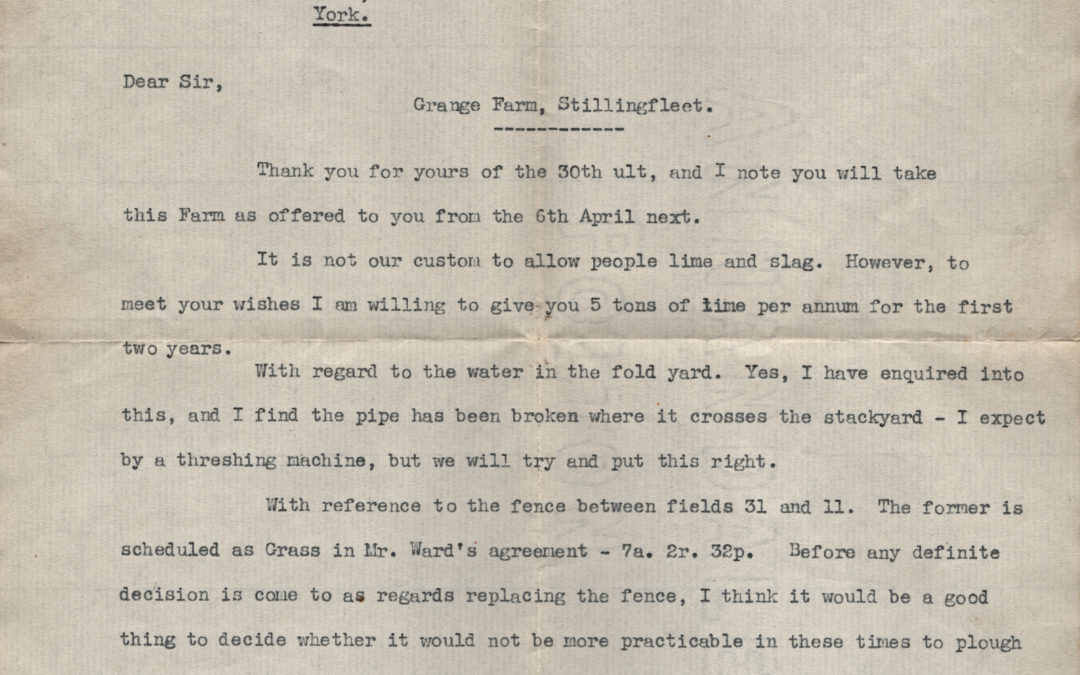 Escrick Estate Office Letter from Claude Thompson