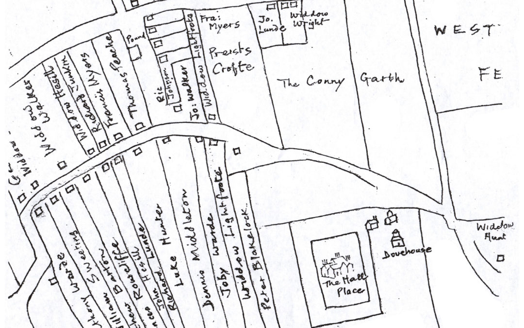 Line drawing map SW Deighton C 1619, naming house occupants & field names.