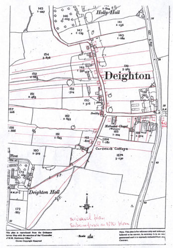 Line drawing map of Deighton from an OS map with field numbers and acreage